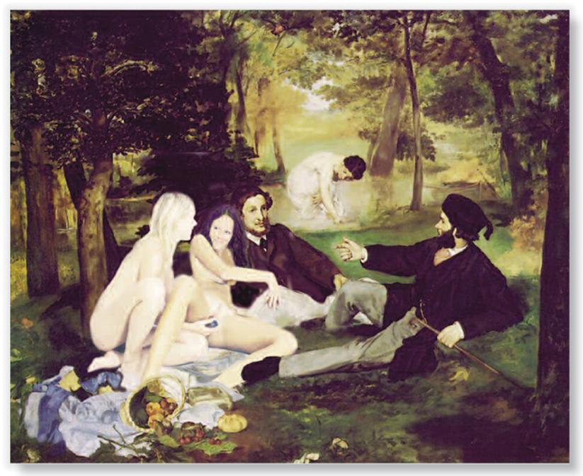 Le déjeuner sur l herbe 2000, print on canvas 120 x100 cm